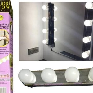 Studio Glow Lights For Makeup With Bright 4 LED Bulbs Portable Cosmetic Mirror Light